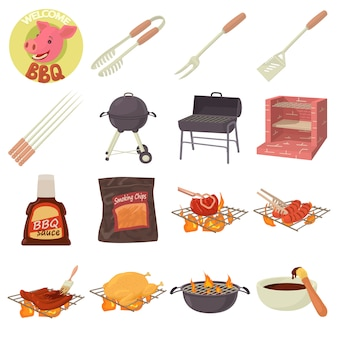 Barbecue tools icons set