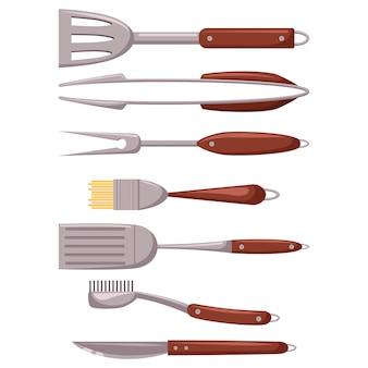Набор инструментов для барбекю. гриль посуда мультфильм плоские иконки на белом фоне.