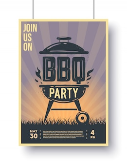 Barbecue vintage poster. bbq time. barbecue party.