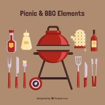 Barbecue con elementi piani