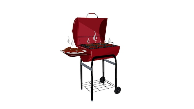 Barbecue with hot food isolated vector illustration