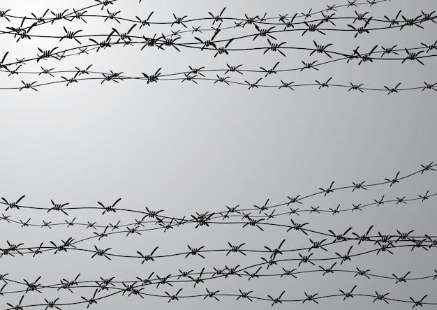 Ограждение из колючей проволоки. забор из проволоки с шипами. черно-белые иллюстрации к холокосту. консольный лагерь.