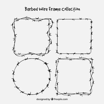 Barbed wire frame collection of four