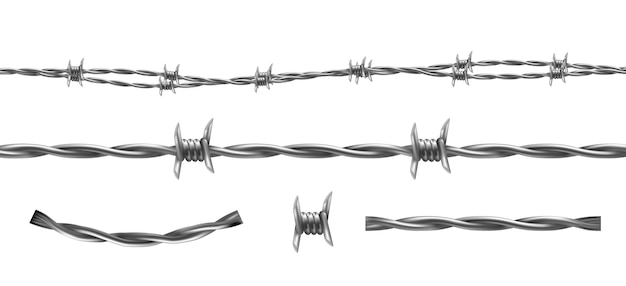 Barbed wire illustration, horizontal seamless pattern and separate elements of barbwire isola