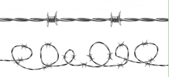 Barbed wire illustration, horizontal seamless pattern with twisted barb wire