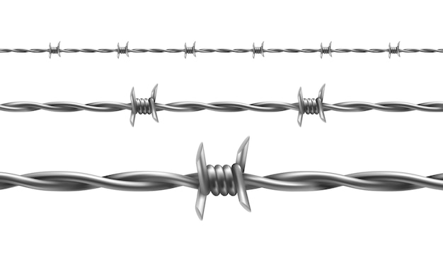 Barbed wire illustration, horizontal seamless pattern with twisted barbwire