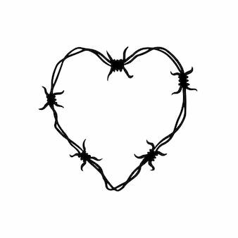 Колючая проволока символ любви тату дизайн логотипа векторные иллюстрации