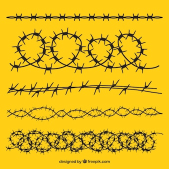 Barbed wire pack on yellow background