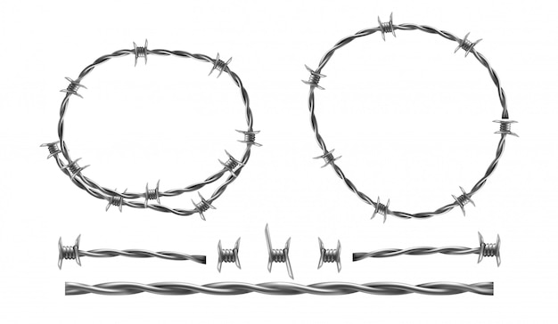 Barbed wire realistic illustration, separate elements of barbed wire