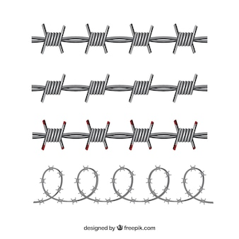 Barbed wire set of four