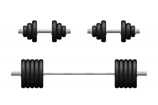 Barbell and dumbbells isolated