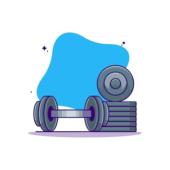 Barbell and weight plates   cartoon illustration