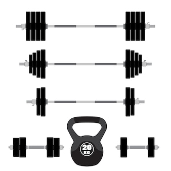 Barbells, dumbbells for gym