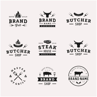 Barbeque / bbq grill food vector logo design template