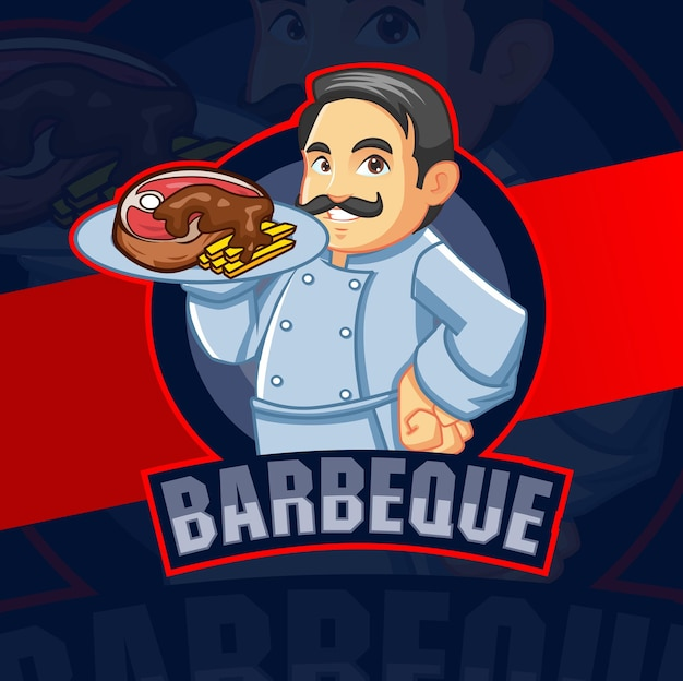Barbeque chef mascot character for bbq grill meal logo design