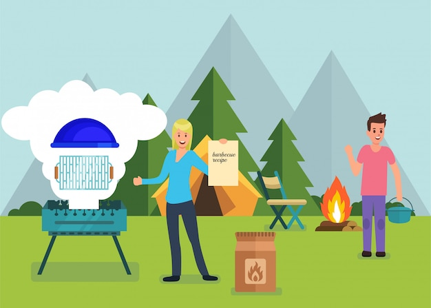 Barbeque equipment and forest camping promo