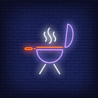 Barbeque grill on brick background. neon style illustration.