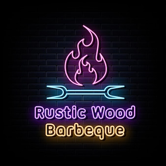 Barbeque grill neon signs vector design template