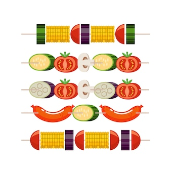 The barbeque grill. set of kebabs with vegetables. corn, zucchini, eggplant, mushrooms, tomatoes. kebab with sausages and zucchini. vector illustration.