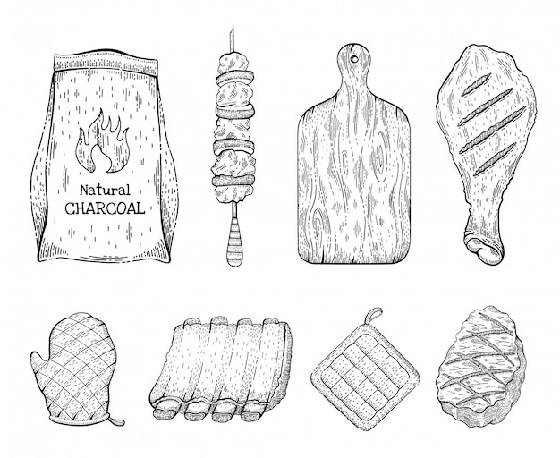 Barbeque grill sketch icon set. beef steak kebab chicken leg coal bag cut board glove pork rib panholder. vintage engraved line illustration.