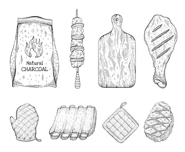 Гриль-гриль эскиз значок набор. стейк из говядины, кебаб, куриная ножка, угольный мешок, доска для нарезки перчаток, свиная грудинка, свиная ножка. старинные гравированные линии иллюстрации.