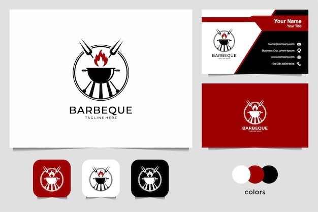 バーベキューのロゴデザインと名刺。レストラン、食べ物、飲み物のロゴに適しています
