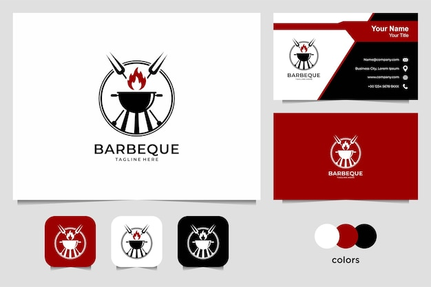 Barbeque logo design and business card. good use for restaurant, food and drink logo