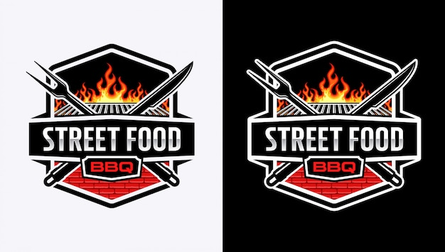 Barbeque logo with badge style