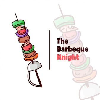 Barbeque logo with vegetables and meat purchased by knight needle sword