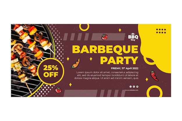 Barbeque party banner template