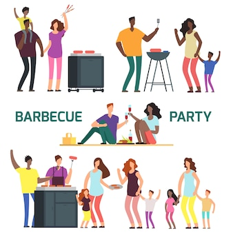 Barbeque party cartoon character families