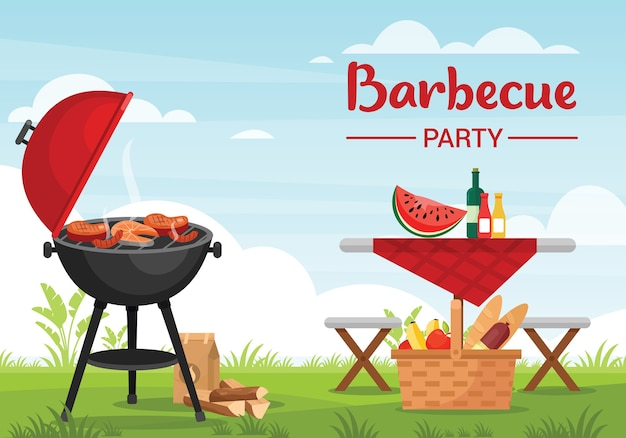 Barbeque party outdoors colorful flat illustration. bbq banner template with typography. picnic basket with fruits and baguette.grill with meat and fish. family recreation on fresh air