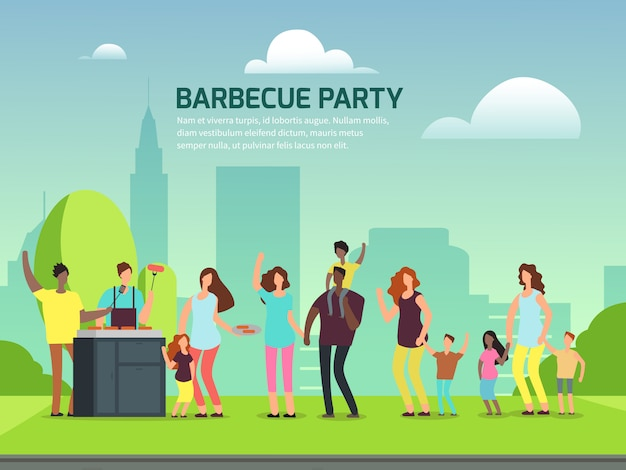 Barbeque party poster. cartoon character families in park vector illustration