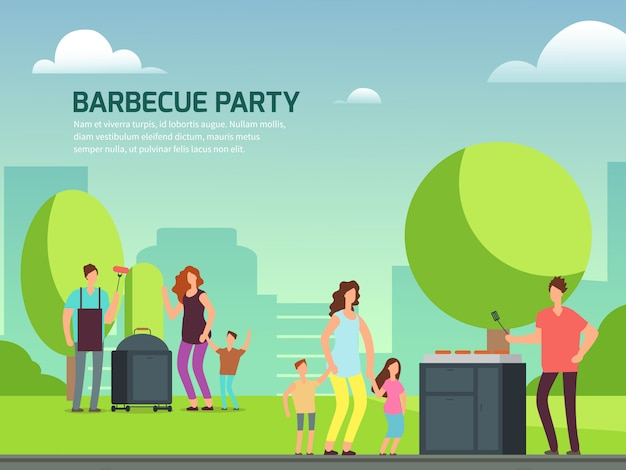 Barbeque party poster. cartoon character families in park