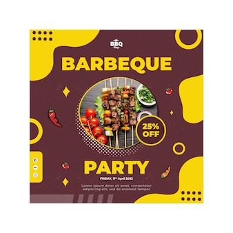 Barbeque party squared flyer template