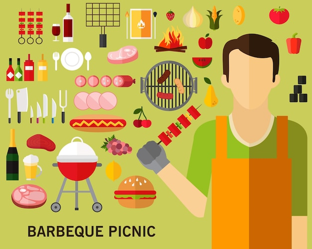 Barbeque picnic concept background