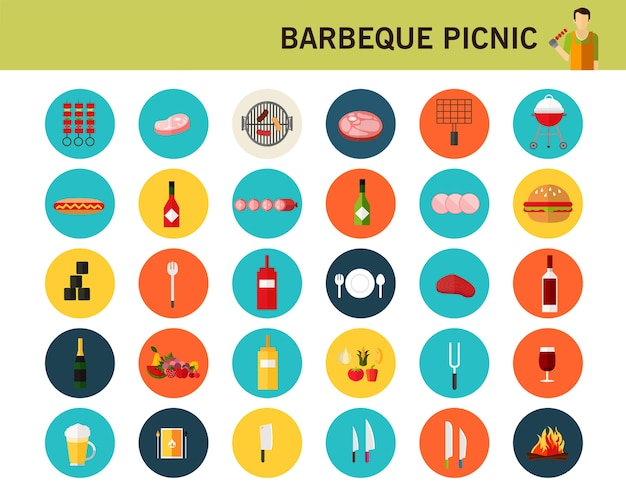Barbeque picnic concept flat icons.