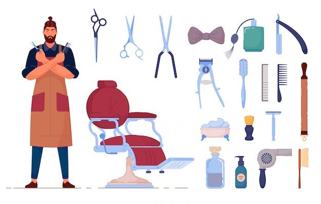 理髪アクセサリー。理髪店のアクセサリーをベクトルし、分離セットを供給します。制服、椅子、はさみ、シェービングブラシ、ヘアードライヤー、ブラシの櫛の図の男理容室キャラクター