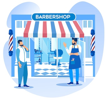 Barber barker inviting man for beauty procedures