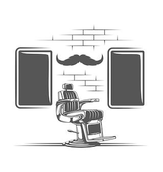 白い背景で隔離の理髪店の椅子
