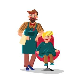 はさみで理髪師の切断小さな男の子の髪のベクトル。ナプキンを手に持ってクライアントの椅子の近くにいる理髪店の労働者の男。キャラクター美容師と小さな子供フラット漫画イラスト