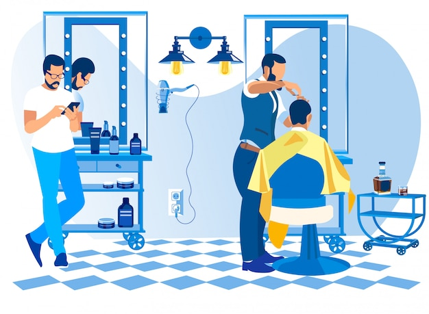 Barber doing client haircut in salon barbershop