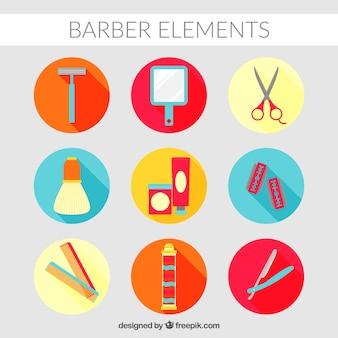 Barber elements in flat design
