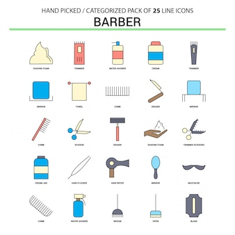 Barber flat line icon set