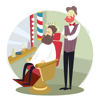 Barber giving a haircut to a man in a barbershop