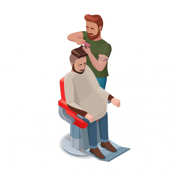 Barber or hairdresser cutting hair of hipster man