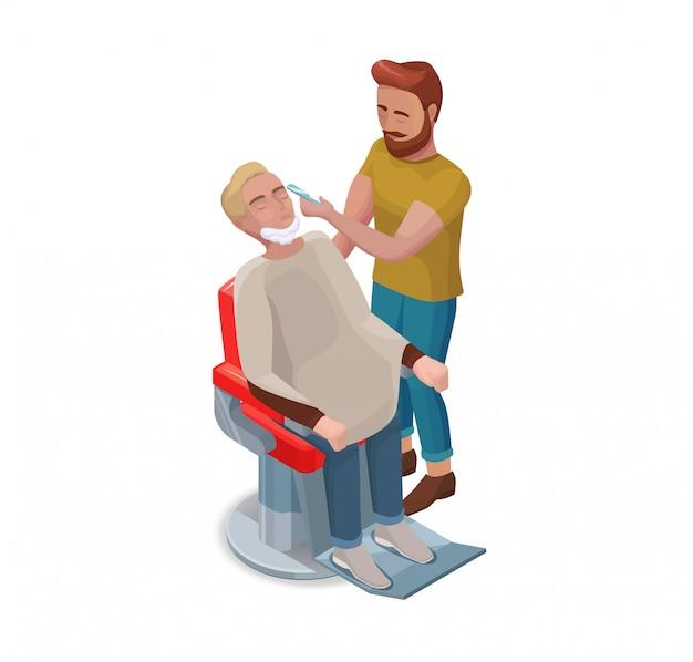 Barber or hairdresser shaving beard