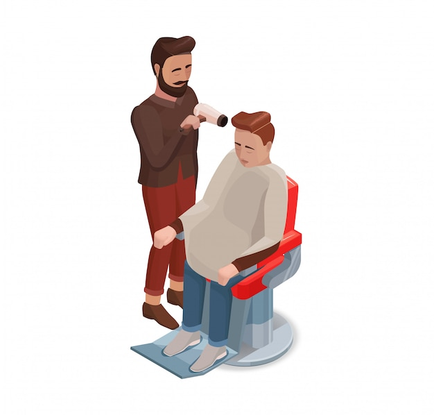 Barber or hairdresser styling hair