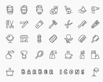 Barber hand drawn icon design illustration