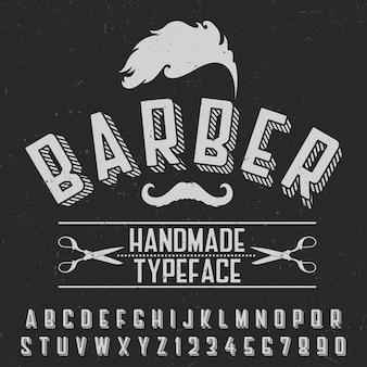 Poster di carattere tipografico fatto a mano del barbiere per il design su nero